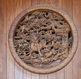 Scultura di legno cinese con il drago Immagine Stock Libera da Diritti