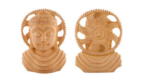 Scultura di legno del Buddha - parte anteriore & parte posteriore fotografia stock