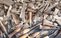 Scultura di legno dello scalpello Immagini Stock