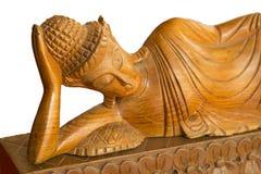 Scultura di legno di Buddha Scultura di legno di stile tailandese sul fondo bianco Fotografia Stock