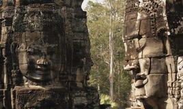 Scultura di pietra in Bayon Wat, Siem Reip, Cambogia Fotografia Stock Libera da Diritti