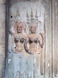 Scultura di pietra degli angeli a Angkor Wat, Cambogia Fotografie Stock