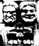 Scultura di pietra dei doccioni allegri e tristi Fotografia Stock