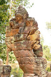 Scultura di pietra del Naga a Preah Khan Temple, Cambogia Fotografia Stock
