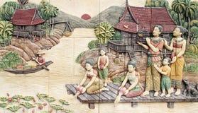 Scultura di pietra della coltura tailandese Fotografie Stock