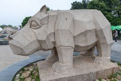 Scultura di pietra della Ippopotamo-pietra Fotografie Stock