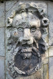Scultura di pietra della testa dei leoni Fotografia Stock Libera da Diritti