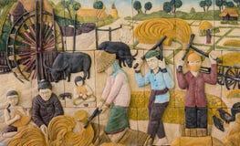 Scultura di pietra di agricoltura tailandese Immagine Stock