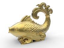 Scultura dorata del pesce illustrazione di stock