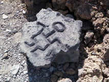 Scultura hawaiana del petroglifo Fotografia Stock