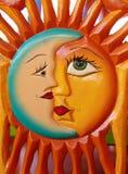 Scultura messicana del sole e della luna Fotografia Stock Libera da Diritti