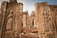 Scultura nel tempiale, Angkor Wat, Cambogia immagini stock