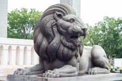 Scultura nera del leone Fotografia Stock Libera da Diritti
