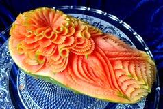Scultura originale tailandese creativa della frutta della papaia bella Fotografia Stock Libera da Diritti