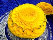 Scultura tailandese della frutta del melone Fotografia Stock Libera da Diritti