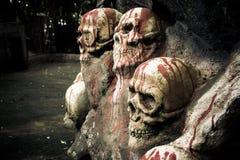 Scultura umana dei crani Fotografia Stock Libera da Diritti