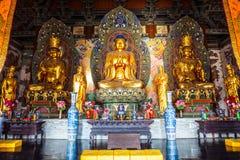 Sculture colorate di intaglio del legno di Mahavira Hall (Corridoio di cerimonia) del tempio di Up-Huayan Fotografia Stock Libera da Diritti