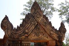 Sculture complesse a Banteay Srei fotografie stock