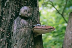 Sculture del legno giapponesi di un Buddha in una foresta di Tokyo con un fungo e le monete immagini stock