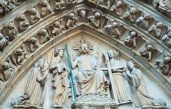 Sculture del Notre Dame, Parigi Fotografia Stock