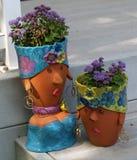 Sculture del vaso della piantatrice Fotografie Stock Libere da Diritti