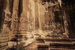 Sculture di Devata in Angkor Wat Fotografie Stock Libere da Diritti
