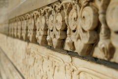 Sculture di marmo sulla moschea Taj Mahal, Agra, India fotografia stock