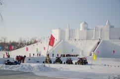 Sculture di neve al ghiaccio di Harbin ed al festival della neve a Harbin Cina Fotografie Stock Libere da Diritti