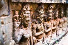 Sculture di pietra in Angkor Fotografie Stock
