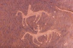 Sculture ed arte antica sulle pareti di canyon Fotografia Stock Libera da Diritti