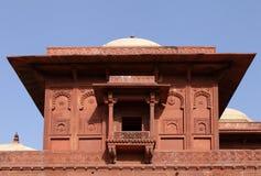 Sculture fini visualizzate sulla parte superiore di palazzo di Birbal in Fatehpur Sikri Complex Immagine Stock Libera da Diritti