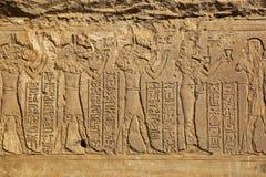 Sculture geroglifiche in tempio egiziano antico Immagini Stock Libere da Diritti