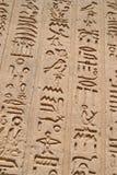 Sculture hieroglyphic egiziane su una parete fotografia stock libera da diritti