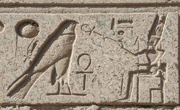 Sculture hieroglyphic egiziane sulla parete immagine stock libera da diritti