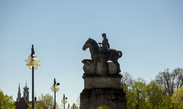 Sculture of the horseman at the bridge on Issar river. In Munich near Deutsche museum Royalty Free Stock Images
