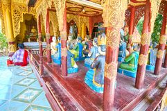 Sculture nel santuario di Myazedi in Bagan, Myanmar Immagini Stock Libere da Diritti