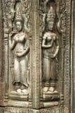 Sculture di Devata, tempio di Prohm di tum, Angkor Wat, Cambogia fotografia stock