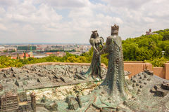 Sculture of price Buda and princess Pest meeting over Danube riv Royalty Free Stock Photo