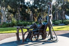 Sculture on UCSD Campus of Dr. Seuss Theodor Geisel. LA JOLLA, CALIFORNIA - FEBRUARY 17, 2018:  Sculpture by Lark Grey Dimond-Cates of Theodor Geisel Dr. Seuss Royalty Free Stock Photography