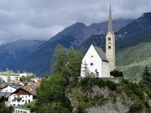 Scuol church and town, Lower Engadine, Switzerland Stock Photo