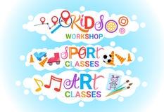 Scuola artistica creativa del gruppo di lavoro di Art Classes For Kids Logo per l'insegna dei bambini Immagini Stock Libere da Diritti