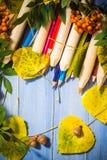 Scuola d'annata della parte posteriore di autunno di concetto del fondo Fotografia Stock