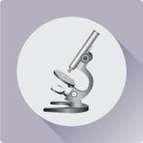Scuola del microscopio Scuola del microscopio annata Icona piana Immagine Stock Libera da Diritti