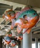 Scuola del pesce di plastica che appende sotto il ponte Fotografie Stock Libere da Diritti