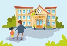 Scuola di Bring Daughter To del padre royalty illustrazione gratis