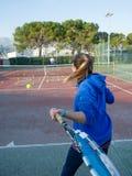 Scuola di tennis all'aperto Fotografia Stock Libera da Diritti