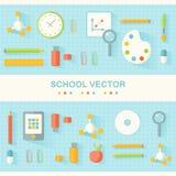 Scuola e manifesto piano di progettazione di istruzione Immagini Stock
