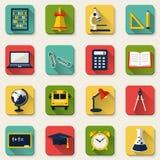 Scuola ed icone piane di istruzione Insieme di vettore Immagine Stock