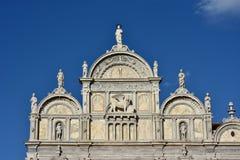 Scuola Grande Di SAN Marco όμορφη πρόσοψη αναγέννησης με το φτερωτό λιοντάρι της Βενετίας Στοκ φωτογραφία με δικαίωμα ελεύθερης χρήσης