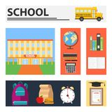 scuola Insegne rettangolari con i rifornimenti di scuola royalty illustrazione gratis